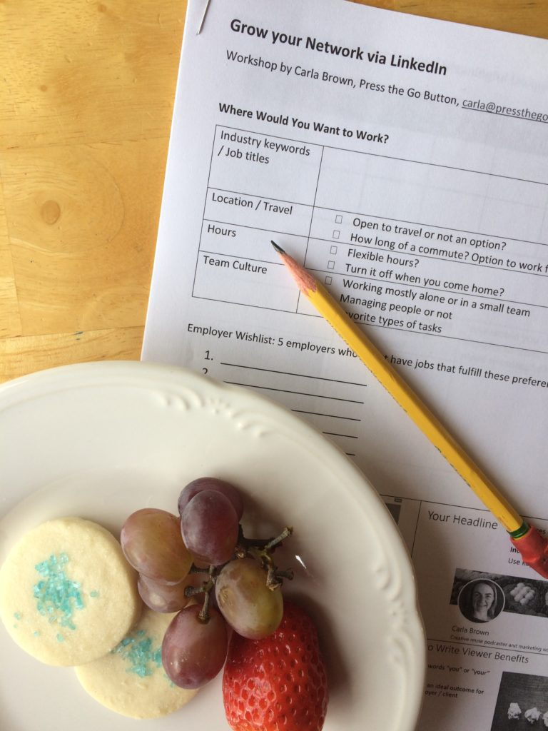 Worksheet and snacks at a Press the Go Button workshop